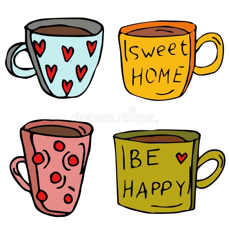 Upps?ttning av fyra koppar Koppar med hjärtor och inskrifter: Var det lyckliga och söta hemmet Samling av beståndsdelar som dras  vektor illustrationer