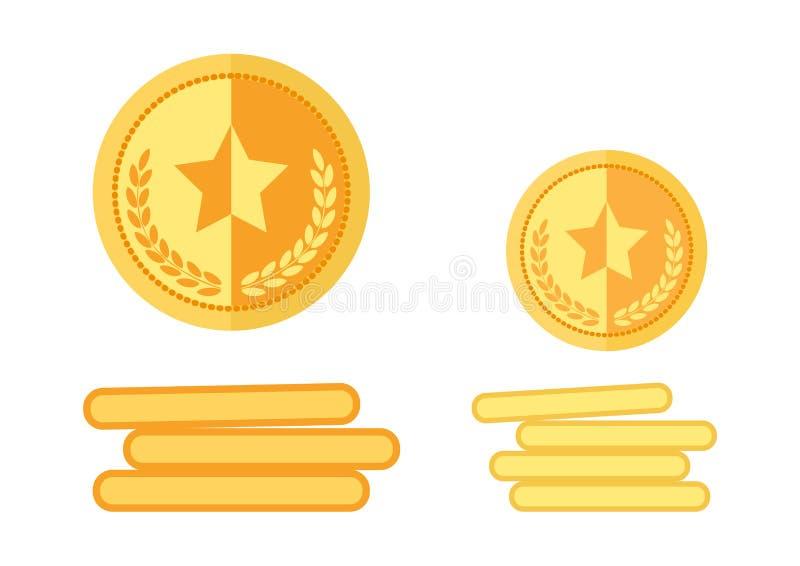 Upps?ttning av guld- medaljer vektor stock illustrationer