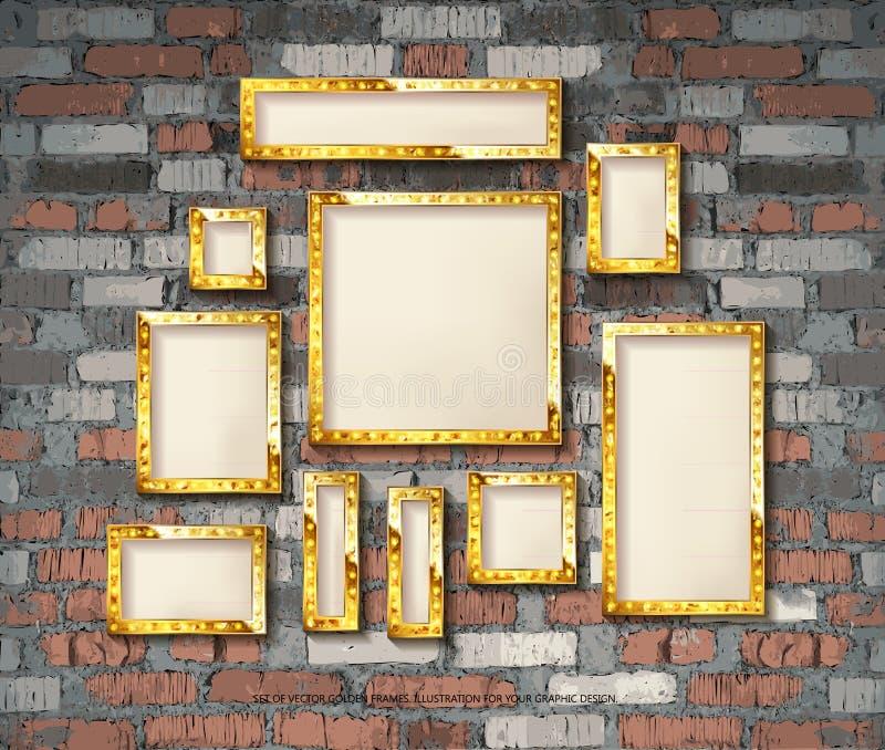 Upps?ttning av guld- tappningramar stock illustrationer