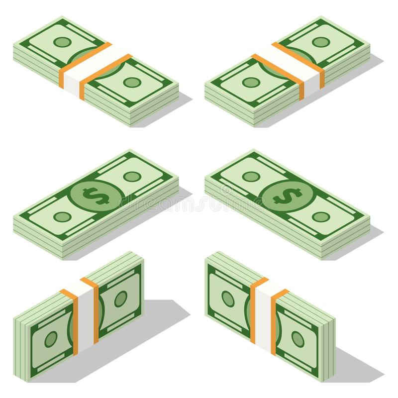 Upps?ttning av isometriska pengar som isoleras p? vit bakgrund Guld- mynt och pappers- dollar illustration Mycket kontanta pengar vektor illustrationer