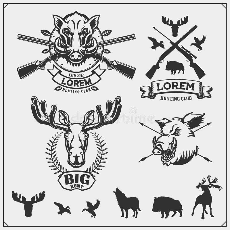 Upps?ttning av jaktemblem, etiketter och designbest?ndsdelar And, älg, vildsvin, varg och hjortar vektor illustrationer