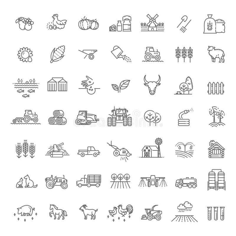 Upps?ttning av jordbruk- och lantbruklinjen symboler vektor illustrationer