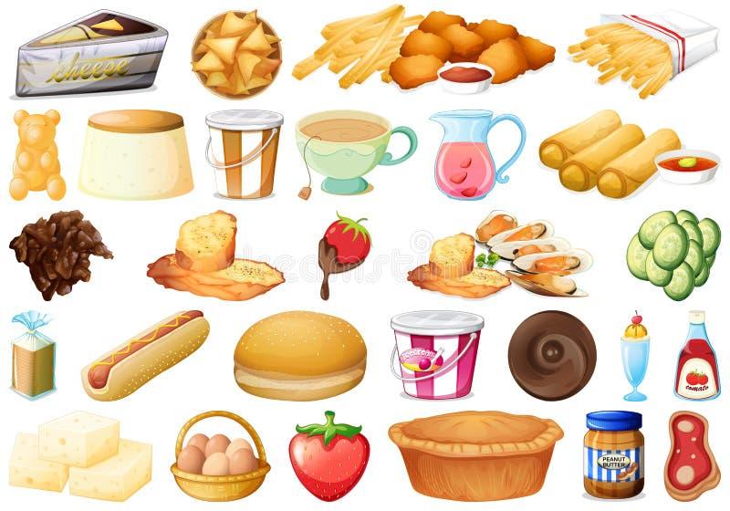 Upps?ttning av l?cker mat vektor illustrationer