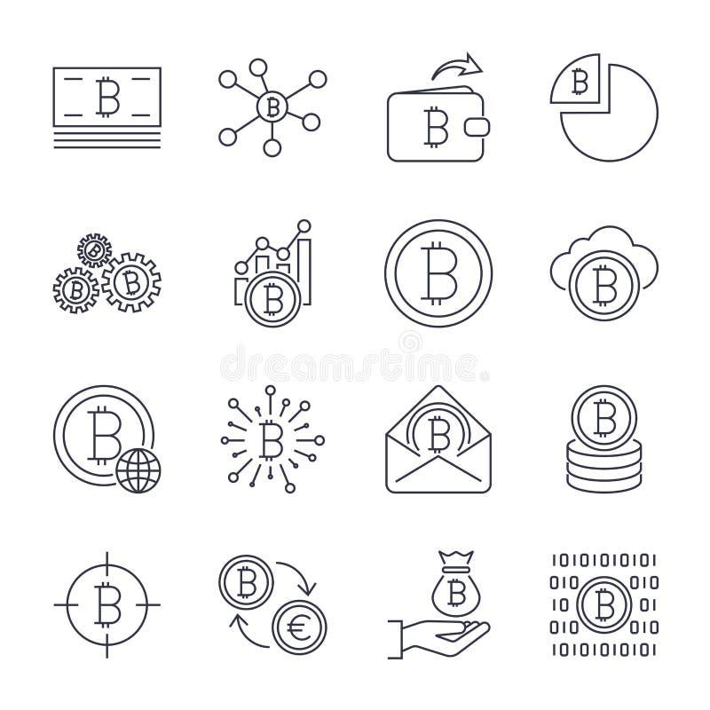 Upps?ttning av linjen slagl?ngdvektor Bitcoin och Cryptocurrency symboler Bryta mynt, spetshacka, guld, pengar, utbyte Symbolsupp stock illustrationer