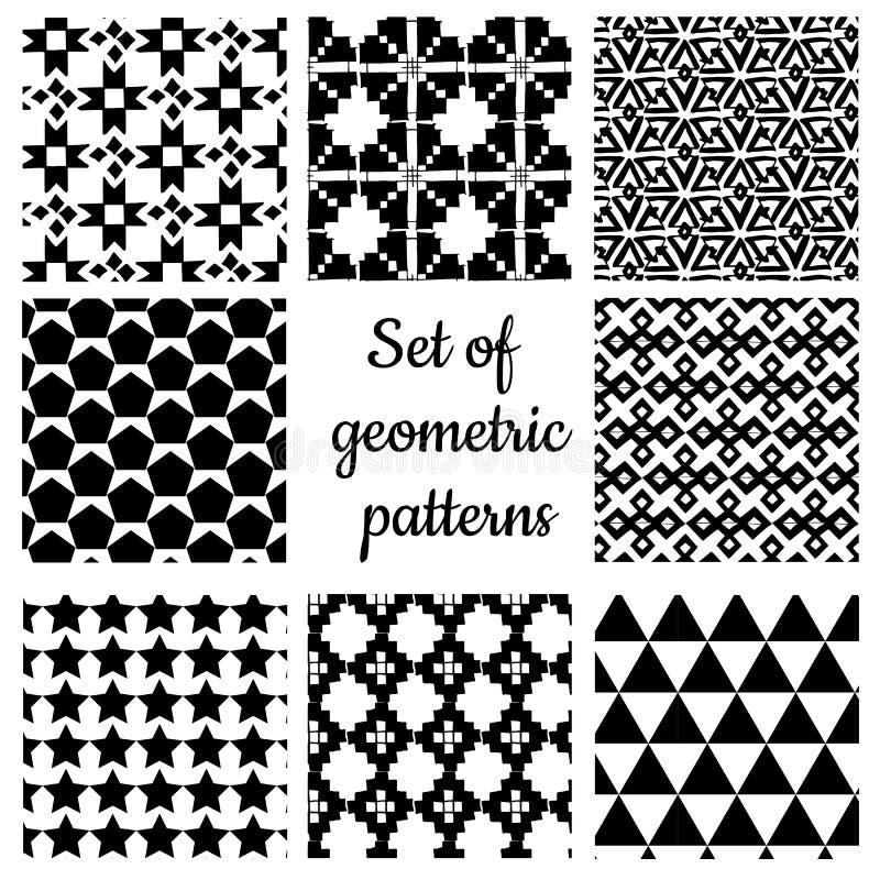Upps?ttning av monokromma geometriska prydnader royaltyfri illustrationer