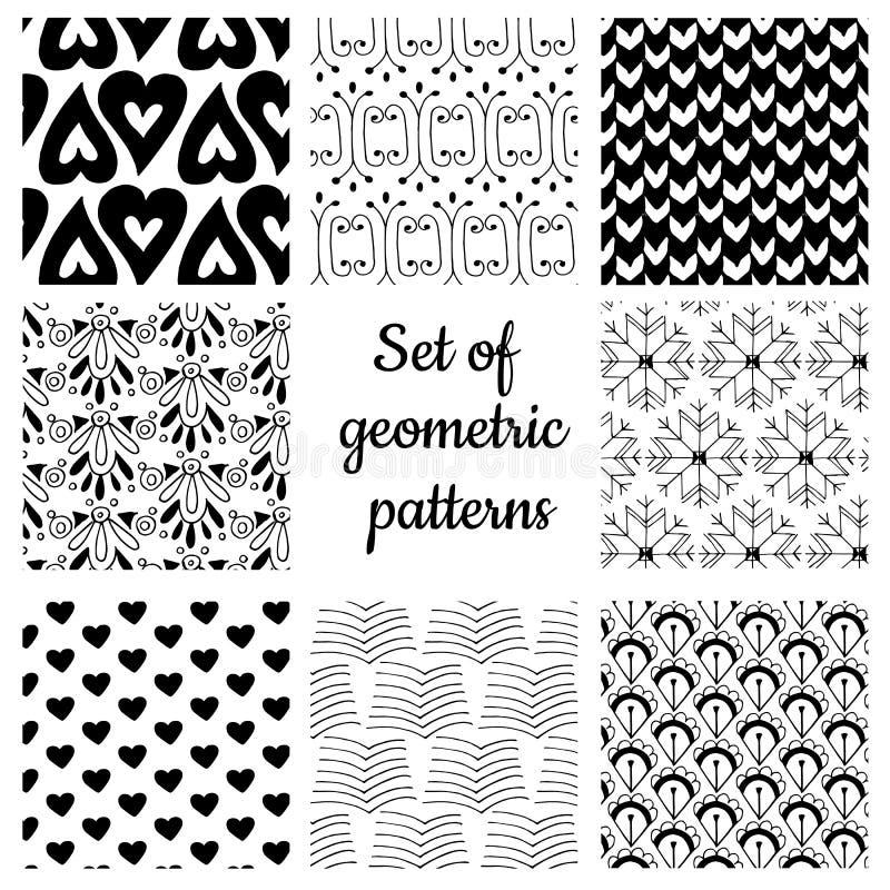 Upps?ttning av monokromma geometriska prydnader vektor illustrationer