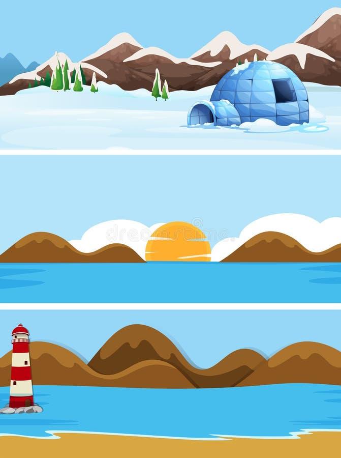 Upps?ttning av naturlandskapet vektor illustrationer