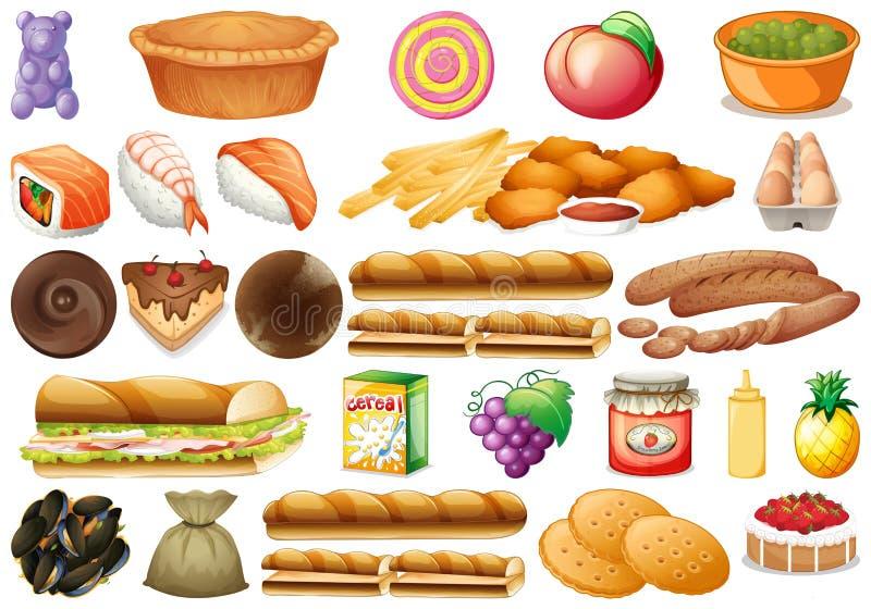Upps?ttning av olik mat stock illustrationer