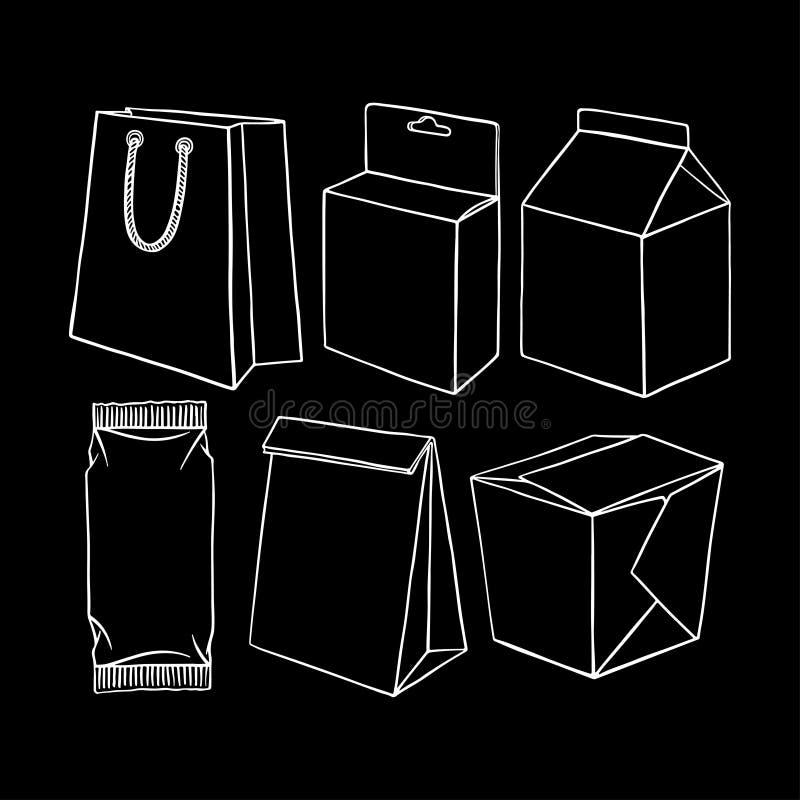 Upps?ttning av olikt f?rpacka stock illustrationer