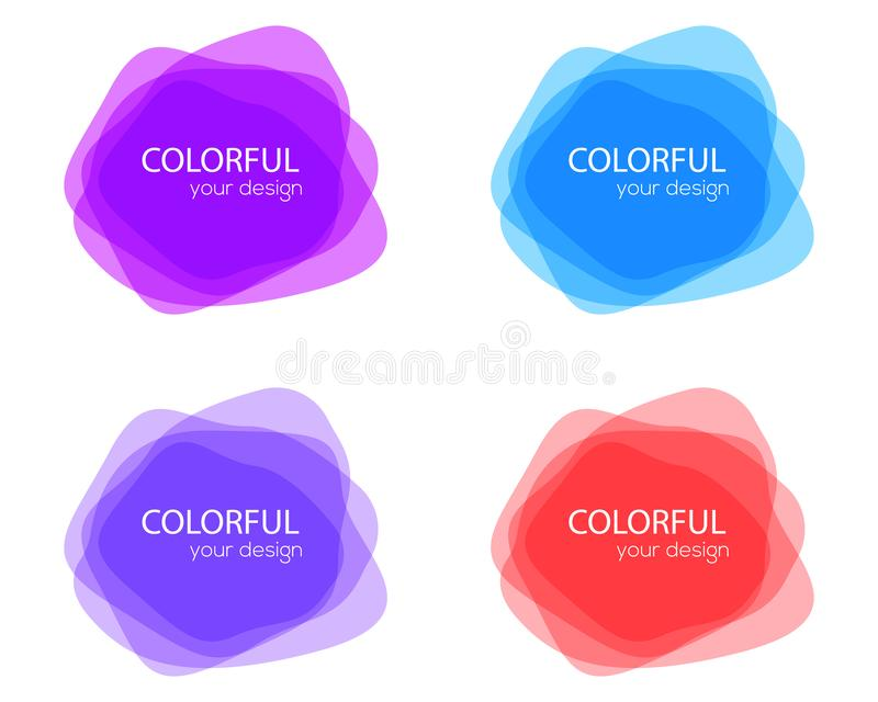 Upps?ttning av runda f?rgrika vektorformer abstrakt banervektor bakgrundsdesignelement fyra vita snowflakes Rolig etikett eller e vektor illustrationer