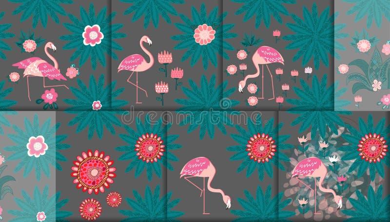 Upps?ttning av 6 s?ml?sa modeller Flamingo och en tropisk skogtextilsammans?ttning stock illustrationer