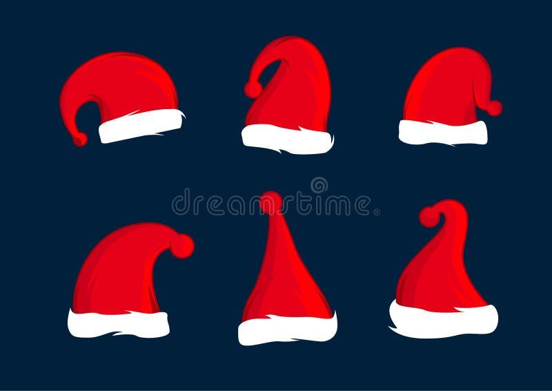 Upps?ttning av Santa Claus r?da hattar Julhattgarnering Duva som symbol av f?r?lskelse, pease vektor illustrationer