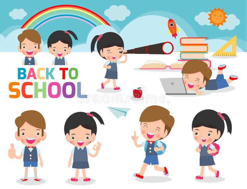 Upps?ttning av skolaungar i utbildningsbegrepp, tillbaka till skolamallen med barn, barn att g? till skola, tillbaka till skola,  vektor illustrationer
