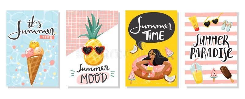 Upps?ttning av sommarh?lsningkort Kvinnor som svävar på badcirkeln, glass, gullig ananas, lemonad, etc. stock illustrationer