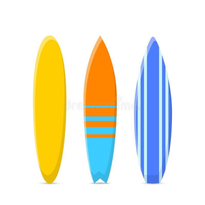 Upps?ttning av surfingbr?dor E Vektorillustration som isoleras p? vit vektor illustrationer