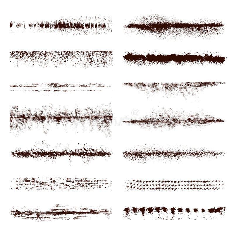 Upps?ttning av svart m?larf?rg, f?rgpulverborsteslagl?ngder vektor illustrationer
