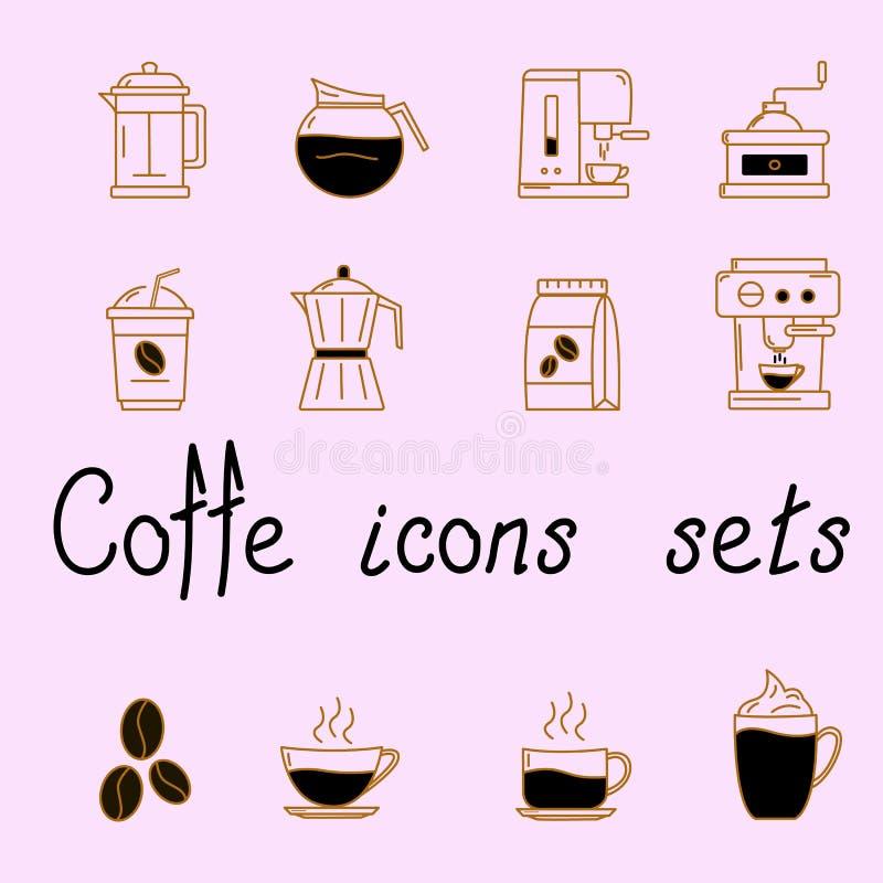 Upps?ttning av symboler med kaffe vektor illustrationer
