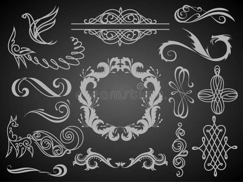 Upps?ttning av tappninggarneringbest?ndsdelar Calligraphic prydnader och ramar f?r krusidullar med st?llet f?r din text retro sti vektor illustrationer