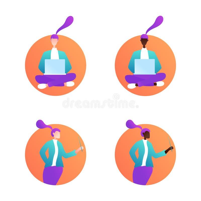 Upps?ttning av unga kvinnor sittande kvinna royaltyfri illustrationer