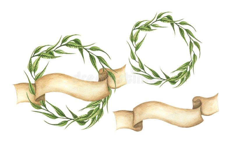 Upps?ttning av utdragna gr?na sidakransar f?r hand med bandet stock illustrationer