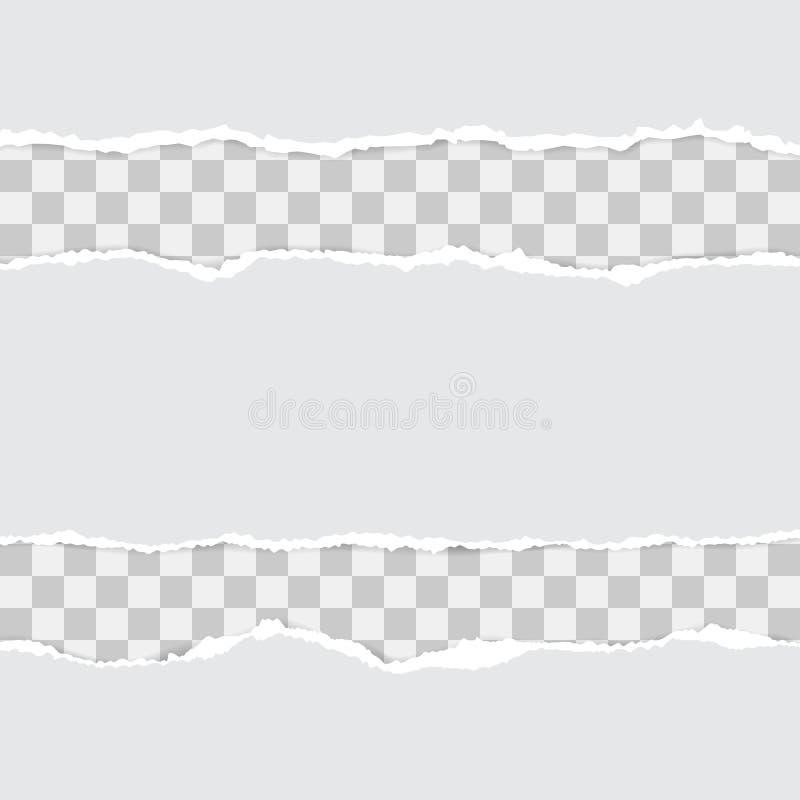 Upps?ttning av vitt s?nderrivet papper Vektorillustration med skuggor royaltyfri illustrationer