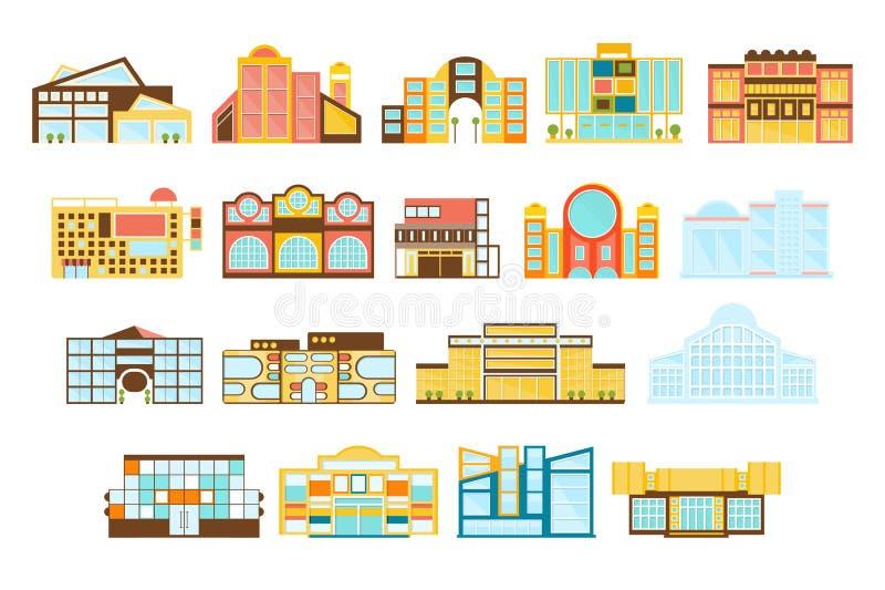 Upps?ttning f?r design f?r shoppinggalleriabyggnader yttre stock illustrationer