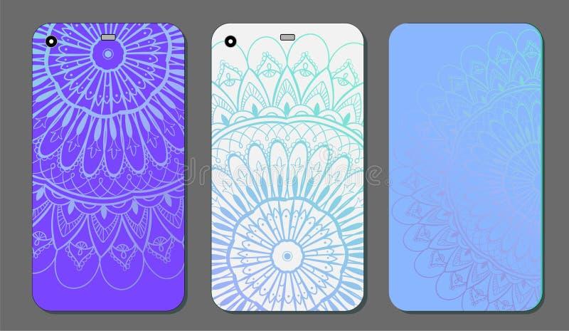 Upps?ttning f?r design f?r telefonfallmandala dekorativ elementtappning bakgrund tecknad hand Islam arabiska, indier, ottomanmoti stock illustrationer
