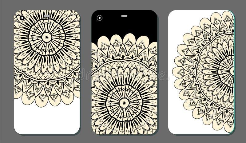 Upps?ttning f?r design f?r telefonfallmandala dekorativ elementtappning bakgrund tecknad hand Islam arabiska, indier, ottomanmoti vektor illustrationer