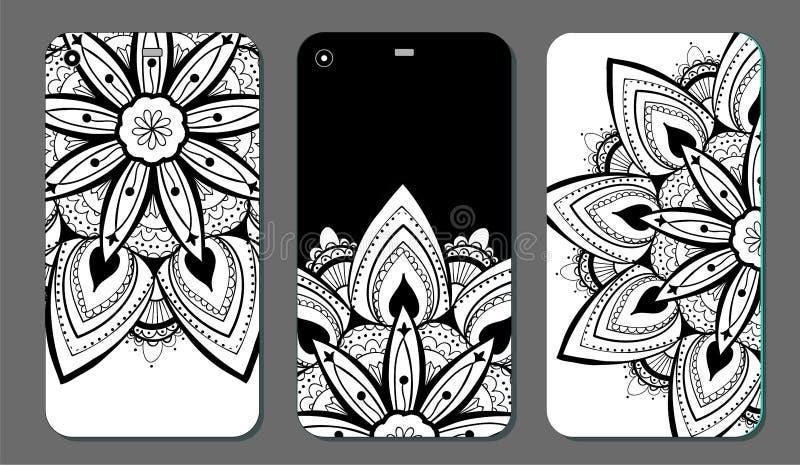 Upps?ttning f?r design f?r telefonfallmandala dekorativ elementtappning bakgrund tecknad hand Islam arabiska, indier, ottomanmoti royaltyfri illustrationer