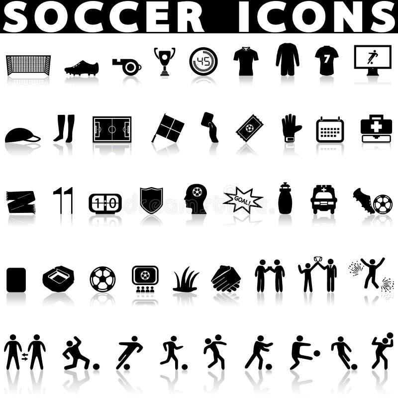 Upps?ttning f?r fotbollfotbollsymboler stock illustrationer