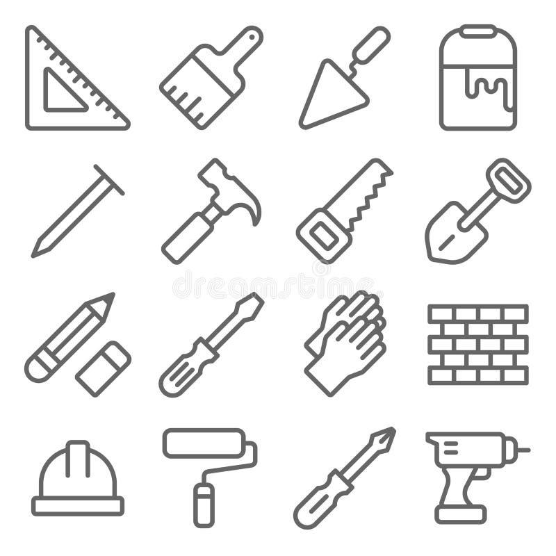 Upps?ttning f?r hantverkarehj?lpmedelsymbol Innehåller sådana symboler som linjalen, målarfärgborsten, tegelsten, sågen, hammare  vektor illustrationer