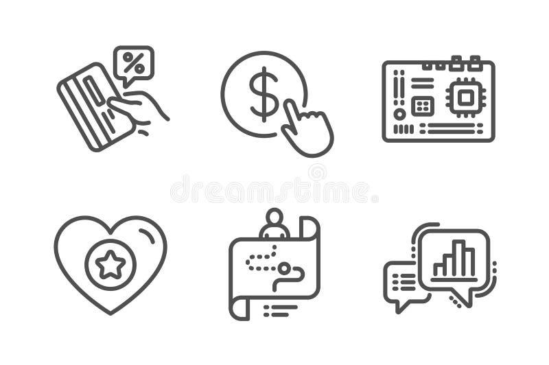 Upps?ttning f?r hj?rta-, moderkort- och resabanasymboler Kreditkort-, k?pvaluta och grafdiagramtecken vektor stock illustrationer