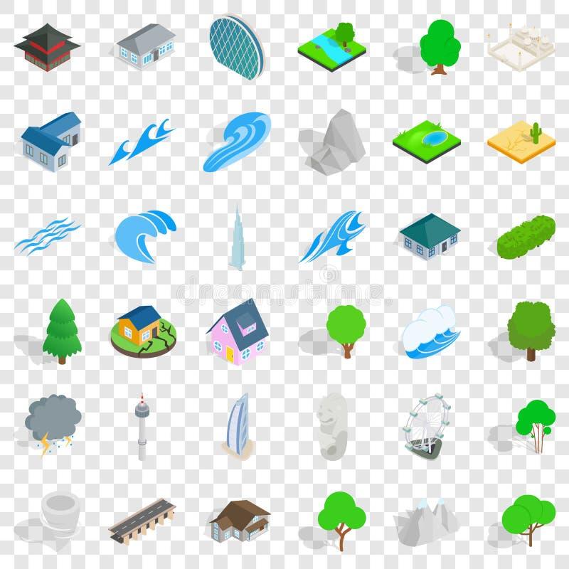 Upps?ttning f?r husbest?ndsdelsymboler, isometrisk stil vektor illustrationer