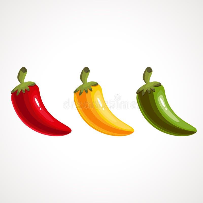 Upps?ttning f?r peppar f?r varm chili som isoleras p? vit bakgrund R?tt, gult och gr?nt vektor illustrationer