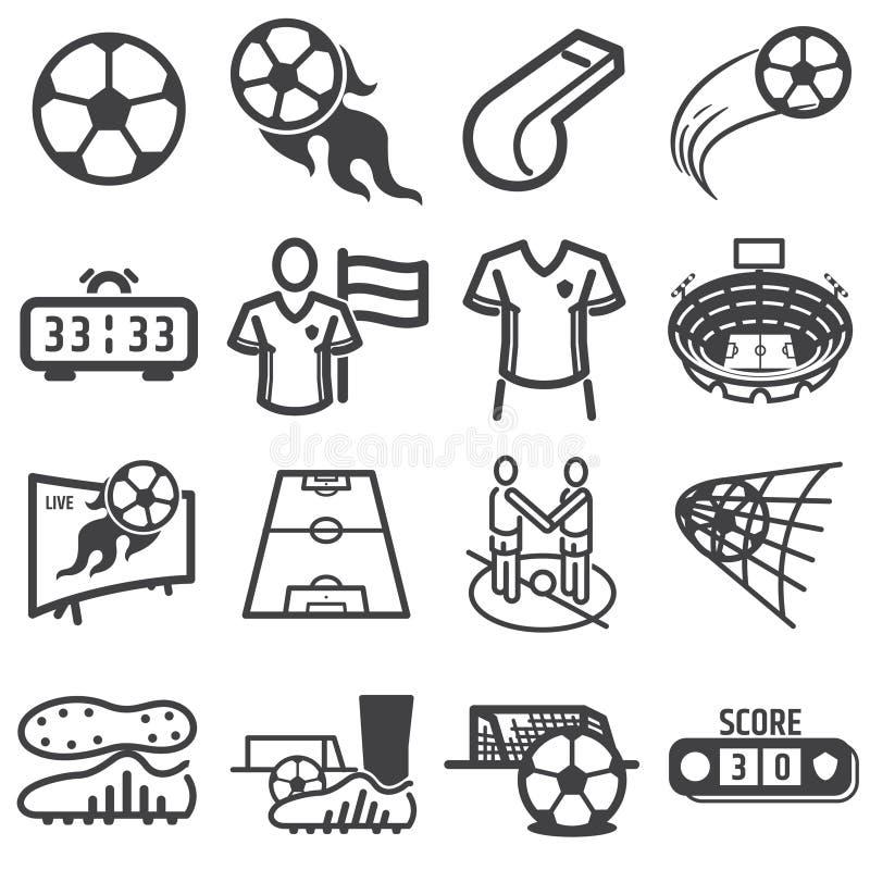 Upps?ttning f?r symbol f?r fotbollfotbollsportar stock illustrationer