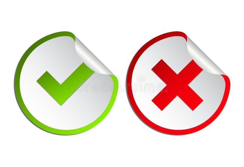 Upps?ttning f?r symbol f?r kontrollfl?ck Gree fästing och plan simbol för Röda korset Kontrollera ok, JA, eller inte, X röstar fl vektor illustrationer