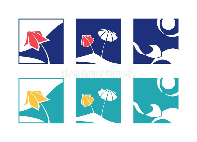Upps?ttning f?r symbol f?r sommarsemester Strand hav, sol, paraply Tv? f?rgalternativ vektor stock illustrationer