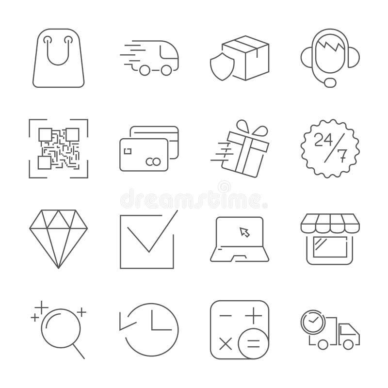 upps?ttning f?r symboler f?r E-kommers ?versiktsreng?ringsduk Redigerbar slagl?ngd royaltyfri illustrationer