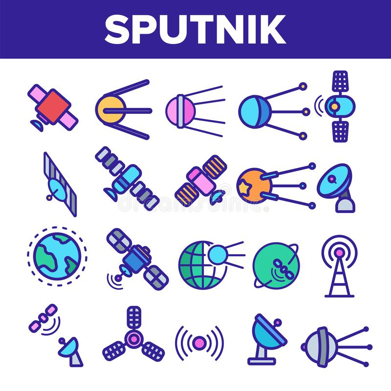 Upps?ttning f?r symboler f?r Orbital vektor f?r sputnik linj?r tunn vektor illustrationer