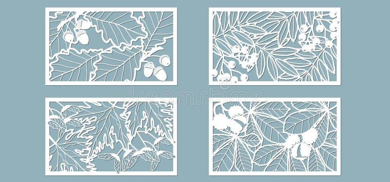 Upps?ttning Sidor ek, lönn, rönn, kastanj, bär, ekollon, frö Mallar i form av rektangel abstrakt frambragd bildrektangel f?r bakg vektor illustrationer