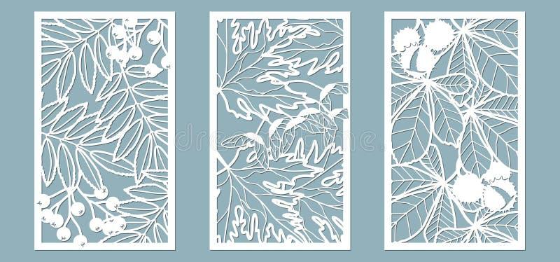 Upps?ttning Sidor lönn, rönn, kastanj, bär, frö Mallar i form av rektangel abstrakt frambragd bildrektangel f?r bakgrund dator oc stock illustrationer