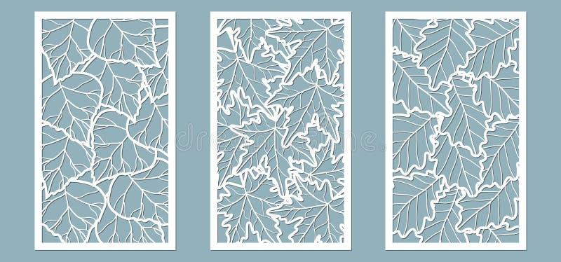 Upps?ttning Sidor l?nn, kastanj, bj?rk Mallar i form av rektangel abstrakt frambragd bildrektangel f?r bakgrund dator Vektorillus stock illustrationer