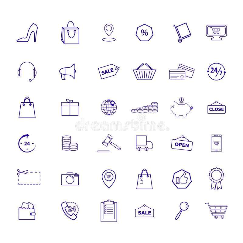Upps?ttningen av detaljhandel shoppar marknadshandelsymboler vektor illustrationer