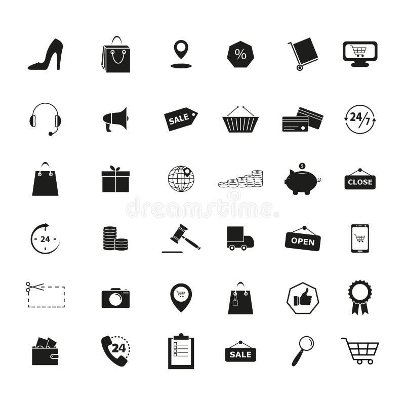 Upps?ttningen av detaljhandel shoppar marknadshandelsymboler royaltyfri illustrationer
