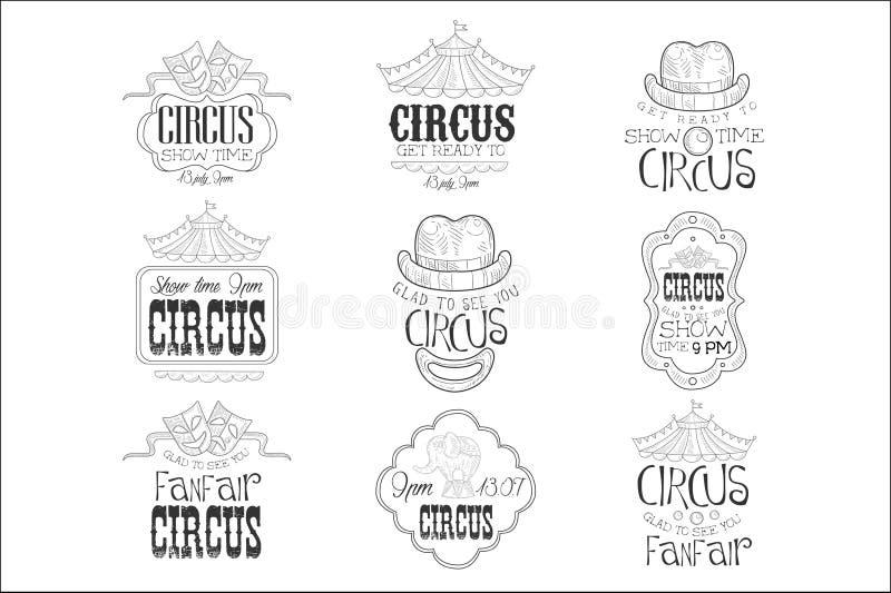Upps?ttningen av handen dragit monokromt tecken f?r cirkusshowbefordran skissar med blyerts specificerad stil med Calligraphic te royaltyfri illustrationer