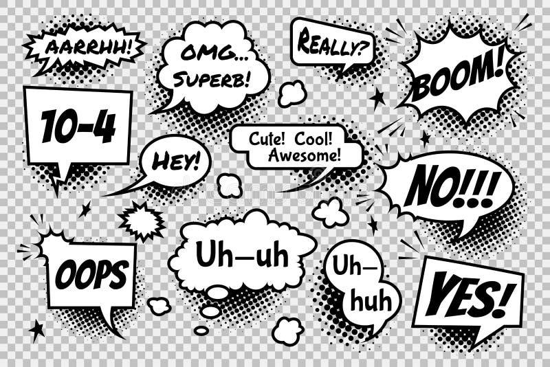 Upps?ttningen av komiskt anf?rande bubblar p? genomskinlig bakgrund stock illustrationer