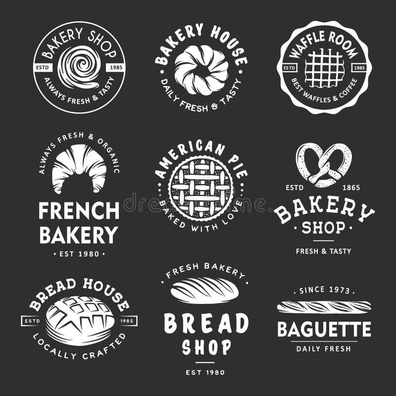 Upps?ttningen av tappningstilbagerit shoppar etiketter, emblem, emblem och logo Vit grafik med inristade designbeståndsdelar stock illustrationer