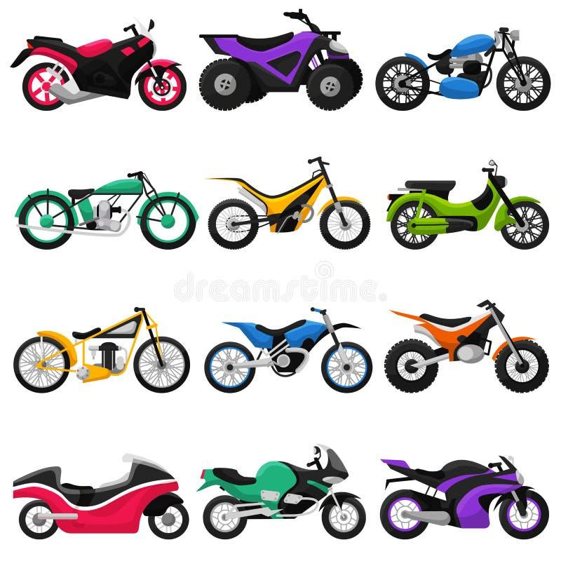 Upps?ttningen f?r motorcycling f?r illustrationen f?r motorcykelvektormopeden och f?r avbrytaren f?r transport f?r bilismcirkuler vektor illustrationer