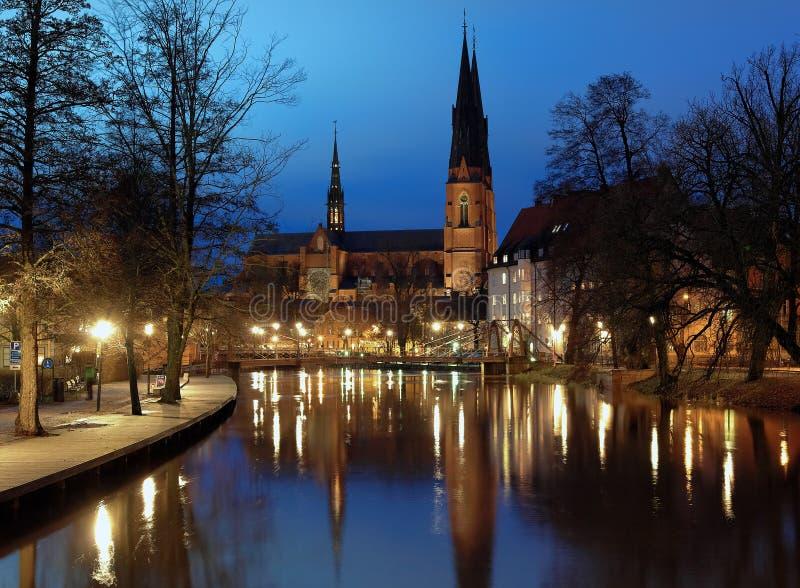 Uppsala Cathedral at evening royalty free stock photo