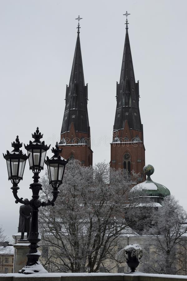 Uppsala cathedral at snow cover winter stock images